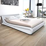 Lingjiushopping Bettbezug in Kunstleder Weiß 160x 200cm Abmessungen: 215x 173x 59,5cm (L x T x H)