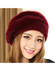 Boinas Mujer sombrero del invierno de las lanas del casquillo del invierno sombrero caliente de Seguridad ( Color : B )