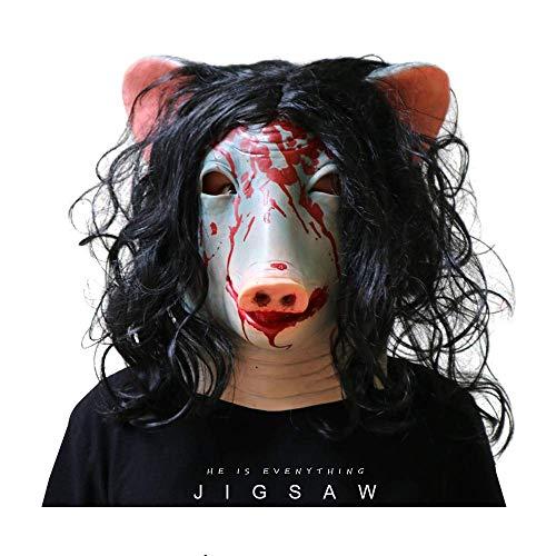 Yacn Masque pour Homme avec tête de Cochon de scie en Forme de tête de Cochon avec Mascarade en Poils