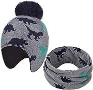 heekpek Niños Niñas Bebés Sombrero Caliente de Punto y Bufanda 2 Piezas Invierno Pompon Beanie Conjunto de Gor