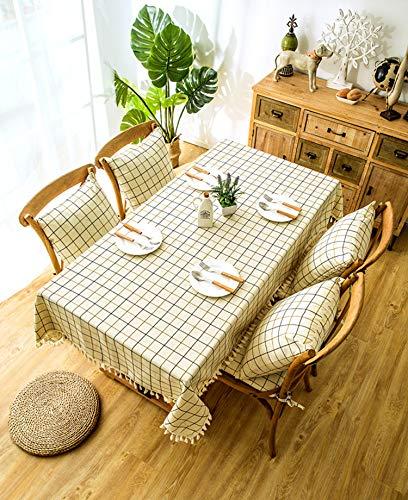 QWEASDZX Tischdecke Einfach und modern Raster Digitaldruck Wasserdicht Ölbeständig Rechteckige Tischdecke Geeignet für Innen und Außen Wiederverwendbar 140x180cm