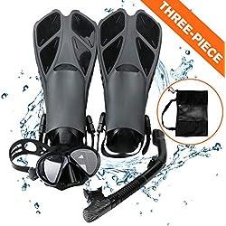 Kits de Plongée, Masque de Plongée + Tuba Semi-Sec + Palmes + Sac, Kits de Randonnée Aquatique Set de Snorkeling pour Adultes et Adolescents (Noir)