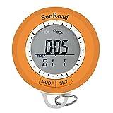 Nelnissa LCD-Digitaler Schrittzähler Höhenmesser Barometer Kompass Thermometer Karabiner, Orange