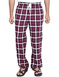 Twist Men's Marron Checked 100% Cotton Pyjama Sleepwear Night Wear With Contrast & Free Shipping