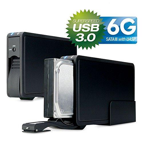 FANTEC ER-35U3-6G Externes Festplattengehäuse (für den Einbau einer 8,89 cm (3,5 Zoll) SATA Festplatte, unterstützt SATA III 6G Festplatten und UASP, USB 3.0 SUPERSPEED, trägerlos, schraubenlos Festplatten wechseln, 30 mm Lüfter für exzellente Wärmeableitung, Aluminium Gehäuse) schwarz