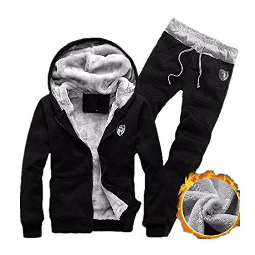 Chándal de otoño invierno Hombre Amlaiworld Sudadera con capucha deportiva Chaqueta Abrigo outwear + Pantalones deportiva Leggings Conjunto de Trajes (M, Negro)