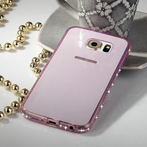 EGO® TPU Schutzhülle Strass Case Diamant mit Panzerglas für Samsung Galaxy S6 Gold Transparent Back Cover Weich Silikon Ultra Dünn Steine Kristall Hülle Glänzend Bling Strass Klar Pink
