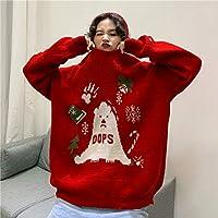 IJL Bufanda de Moda Conjunto de suéteres temáticos navideños par de Modelos Ropa navideña para niños y niñas Versión Coreana del suéter Rojo suéter código suéter Chaqueta