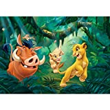 Vlies Fototapete PREMIUM PLUS Wand Foto Tapete Wand Bild Vliestapete - Disney König der Löwen Kindertapete Pumbaa Timon Nala Sarafina - no. 2275, Größe:368x254cm Vlies