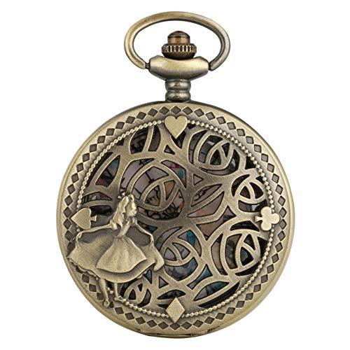 FSK&CDL Taschenuhr Antike Bronze Poker Karten Display Schöne Prinzessin Quarz Taschenuhr Halskette Anhänger Sammlung Souvenir Geschenke für Frauen Mädchen