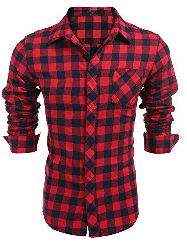 Burlady Karohemd Herren Langarm Hemd Kariert Regular Fit Trachtenhemd Cargo Bügelleicht Freizeithemd Männer 57-Rot