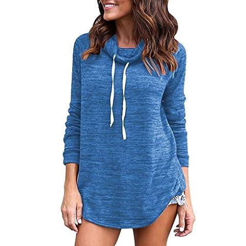 Igemy Frauen Langarm Feste Pullover Pullover Tops Bluse (S, Blau) (Langarm Schwangerschafts-tunika)