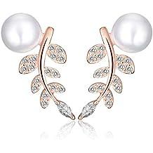 yumilok Gioielleria in Argento Sterling 925placcato in oro rosa, con zirconi Perle da Donna Foglie orecchini Ear Cuff orecchini ipoallergenico