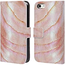 Official Monika Strigel Pink Coral Pastel Seashell Leather Book Wallet Case Cover For Apple iPhone 5c