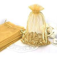 100pcs 10*14cm Bolsa Organza para envolver Regalo Detalle de Boda Organza bolsa de la joyería del bolso del regalo del favor de la Oro