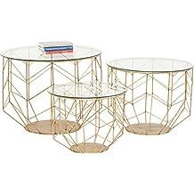 Kare Wire Grid Brass (3/Set) Couchtisch, Andere, Gold, 70