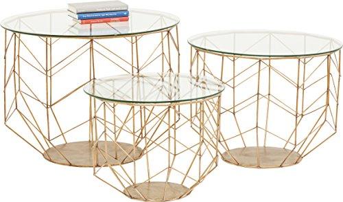 Kare Design - Set de 3 Tables Basses Laiton et Verre WIRE Grid