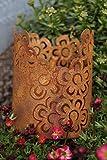 Edelrost Mini Windlicht Blüte Tischdekoration Garten Terrasse Blumen Metall