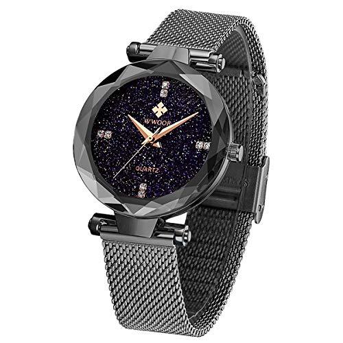 WWOOR Elegante Damenuhr mit Mesh Metallarmband Analog Quarz Wasserdicht Armband Uhren Frauen