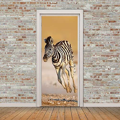 Türaufkleber 3D Zebra Adesivo De Parede Wandtattoos Abstrakte Kunst Tier Tapete Dekoration Cool Home Decor 77 * 200cm (Cool, Senden Einheit)