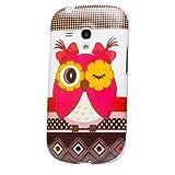 iCues Schutzhülle kompatibel mit Samsung Galaxy S3 MINI | Design TPU Case Blumen Eule Owl Eule | [Display Schutzfolie Inklusive] Damen Frauen Silikon Gel Motiv Muster Hülle Cover Schutz