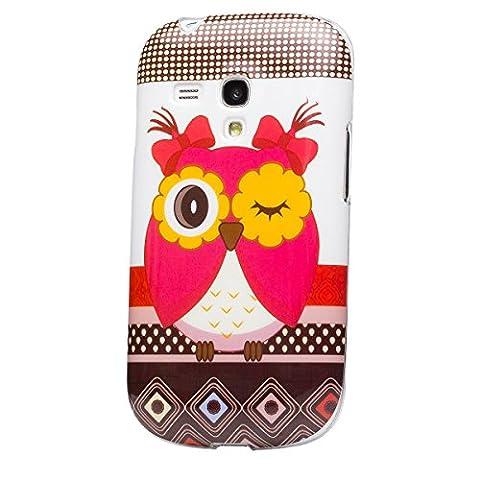 iCues Samsung Galaxy S3 MINI | Design TPU Case Blumen Eule Owl Eule Mädchen | [Display Schutzfolie Inklusive] Damen Frauen Mädchen Silikon Gel Motiv Muster Schutzhülle Hülle Cover Schutz