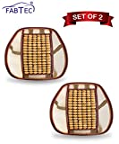#4: Fabtec Universal Yellow Wooden Back rest Seat Bead With Lumbar Support For All Cars (Set Of 2)