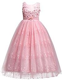 IBTOM CASTLE Princesa Vestido de Niña de Flores para la Boda Vestidos de Dama De Honor Sin Mangas Largo Fiesta Cordón Noche Comunión…
