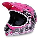 Actionbikes Motorradhelm Kinder Cross Helme Sturzhelm Schutzhelm Helm für Motorrad Kinderquad und Crossbike in pink (Small)