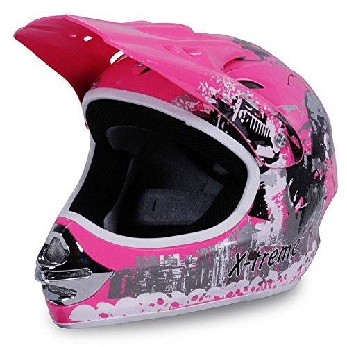 Motorradhelm X-treme Kinder Cross Helme Sturzhelm Schutzhelm Helm für Motorrad Kinderquad und Crossbike in pink (X-Large)