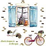 Mohanbali Wandaufkleber handgemaltes Aquarell Katze Fahrrad Wohnzimmer Schlafzimmer Wandmalerei Aufkleber Selbstklebende Persönlichkeit Schlafsaal Bett