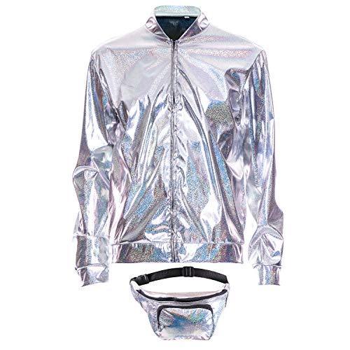 70s 80s 90s Foil Metallic Shiny RAVE Bomber Jacket Hologram Festival Fancy Dress (Rave Fancy Dress Kostüm)