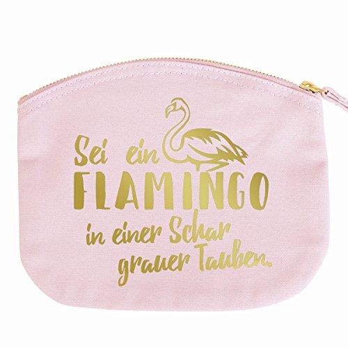 JUNIWORDS Kosmetiktasche Kulturtasche mit Reißverschluss - Sei Ein Flamingo - 28 x 22 cm - Tasche: Pastellrosa - Schrift: Gold