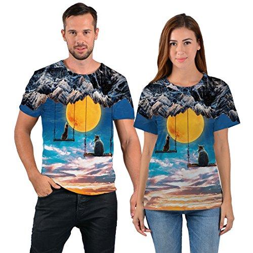 uideazone Mens 3D-Druck-Hipster Hemd mit Kurzen Ärmeln Lässige Graphics Tees Fly Cat in sky
