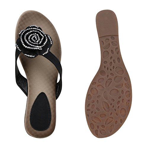 Damen Zehentrenner Beach Schuhe Lack Flats Sandalen Schwarz Blumen Steine
