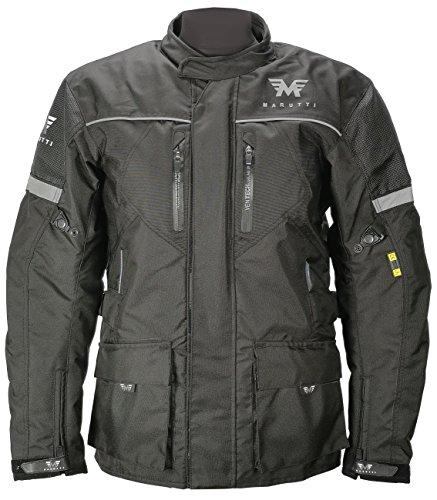 Giacca Moto da Motociclista da Uomo Impermeabile per Tutte Le Stagioni Cappotto Lungo in Tessuto Cordura in Nero M