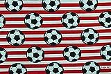 Jerseystoff Fußball rot-weiß | 1,50 Meter breit | wird in