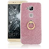 Huawei G8 Funda, Ranrou TPU Soft Sparkle Powder Back Cover with 360 Degree Rotating Ring Stent forHuawei G8(Pink)