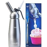 Innovee Cream Whipper - 0.5 Litri Sifone Monta Panna Professionale in Alluminio 3 Beccucci Decorativi - Utilizza Cartucce N20 Standard (non incluse)