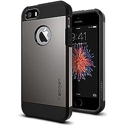 Spigen Coque iPhone Se, Coque iPhone 5S / 5 [Tough Armor] Protection US Military Grade [Gunmetal] Coussin d'air, Protection Angle, Anti Choc Coque iPhone 5 / 5s / Se (2016) (041CS20188)