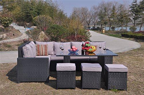 Yakoe 70006 195x71x85 Cm Conservatory 9 Seater Rattan Garden Furniture  Corner Dining Set U2013 Black ...