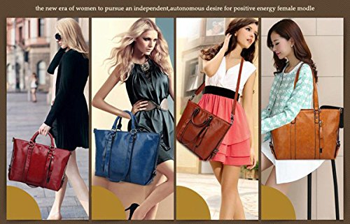 Auspicious beginning Frauen einfache Vintage Leder Volltonfarbe einzelne Schulter zwei Totes Bag braun