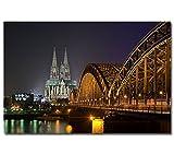 Poster --- Köln bei Nacht #1 --- Kölner Dom Skyline