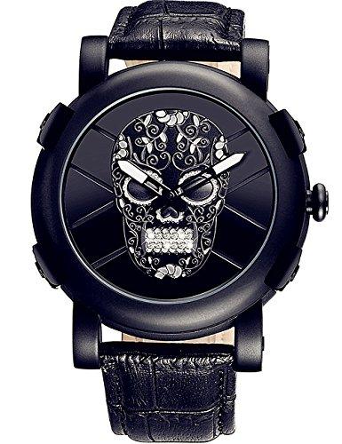 HYK Herren Totenkopf Uhr Analog Quarz Mit Leder Armband