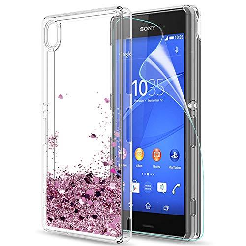 LeYi Custodia Sony Xperia Z3 Glitter Cover con HD Pellicola,Brillantini Trasparente Silicone Gel Liquido Sabbie Mobili Bumper TPU Case per Custodie Sony Xperia Z3 Donna ZX Rosa Rose Gold