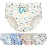Allmeingeld Jungen Roboter Slips 5er Pack Unterwäsche Set 100% Baumwolle Unterhose Blau für Kinder 2-8 Jahre