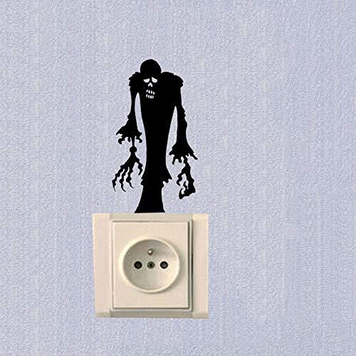 WALSTICKEL Wandtattoos Halloween Gruselige Schlafzimmer Schalter Aufkleber Mode Vinyl Dekoration Aufkleber, Schwarz