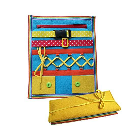 Hangarone Infant dressing lernspielzeug, säuglingskinder schnalle reißverschluss knopf puzzle spielzeug kleinkind frühes lernen grundlegende lebenskompetenzen pädagogische lehrmittel. 30x25x2 cm