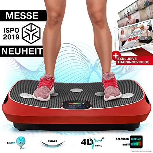 Messe-Neuheit 2018! 4D Vibrationsplatte VP400 mit einmaligen Curved Design, Color Touch Display, Riesige Fläche, Smart LED Technologie inkl. Remote-Watch, Trainingsbänder & Übungsposter & Schutzmatte