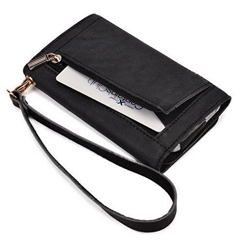Kroo Pochette Housse Téléphone Portable en cuir véritable pour Sony Xperia Z1/Z1Compact/M2 Marron - peau noir - noir